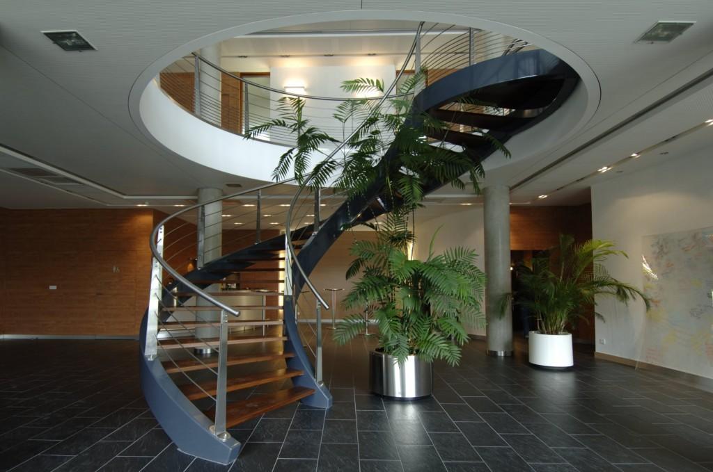 Escalier ballancé mixte métal/bois Garde corps inox brossé